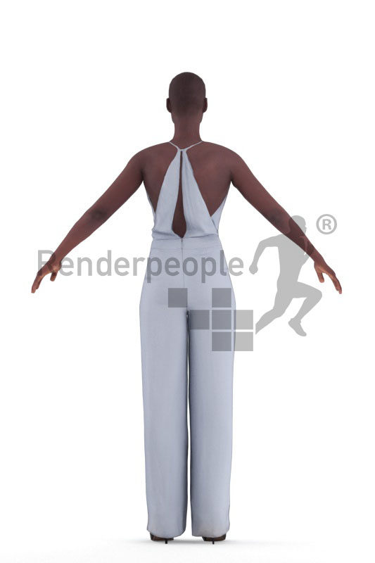 3d people event, 3d black woman rigged