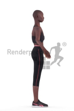 Rigged human 3D model by Renderpeople – black woman in sports clothes