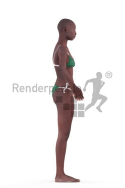 Rigged 3D People model for Maya and 3ds Max – black woman in bikini, swimmwear, beach and pool
