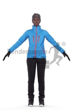 3d people sports, 3d black woman rigged, with skiing gear