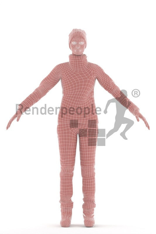 3d people sports, 3d black woman, with skiing equipment/gear