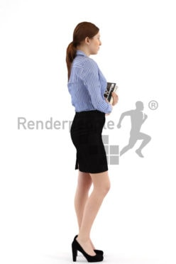3d people business, white woman holding books