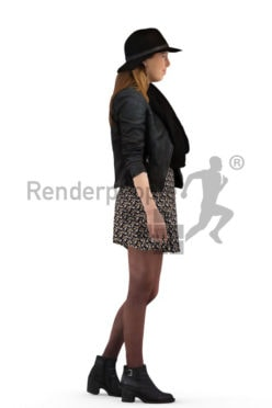 3d people, casual, white woman wearing a hat