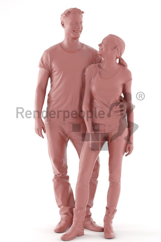 3d people casual, 3d couple smiling