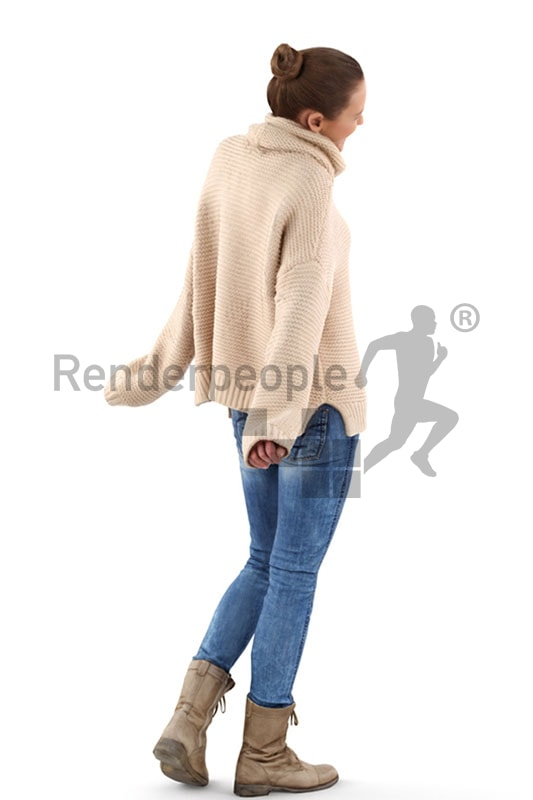 3d people casual, white 3d woman smiling
