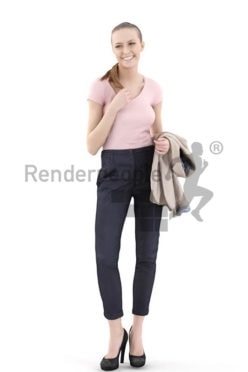 3d people business, white 3d woman smiling