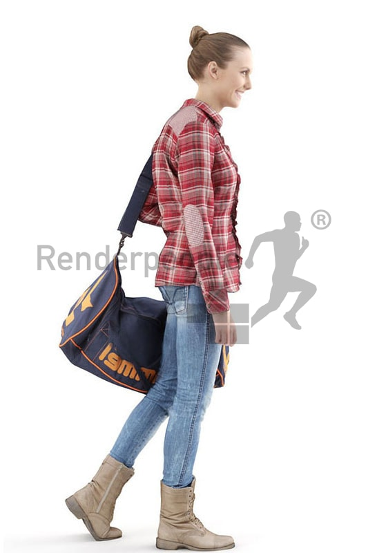 3d people casual, white 3d woman carrying a sports bag