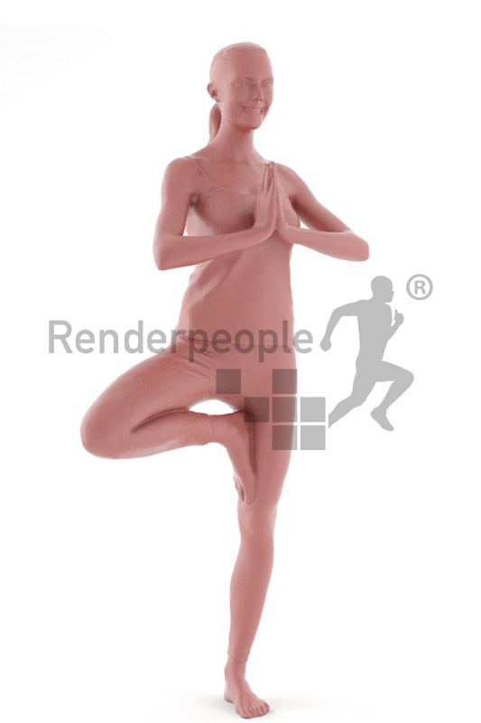 3d people sports, white 3d woman doing yoga