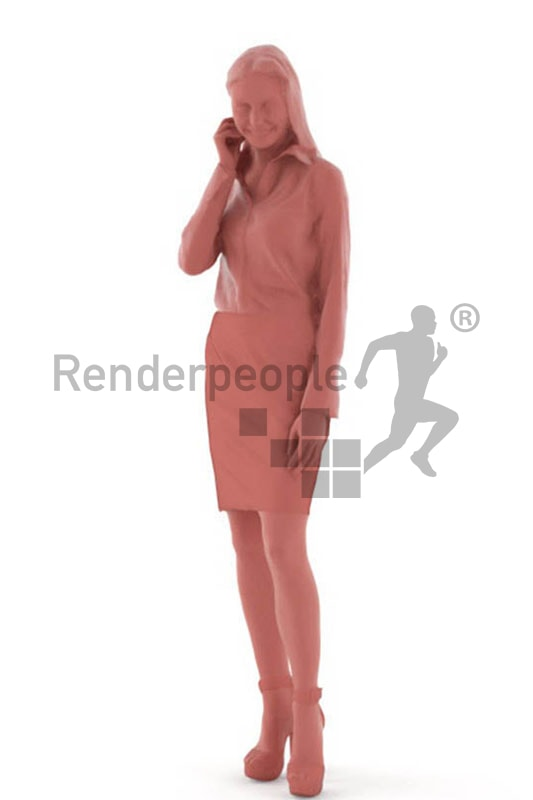 3d people business, white 3d woman standing and smiling