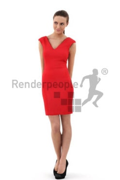3d people events, white 3d woman in a nice red dress flirting