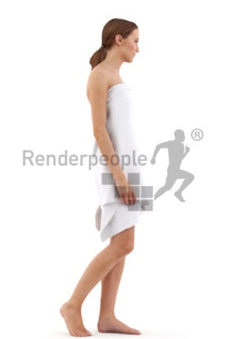 3d people spa, white 3d woman covered in a towl