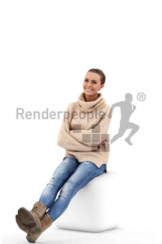 3d people casual, white 3d woman sitting with a friendly smile