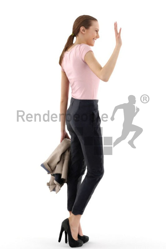 3d people business, white 3d woman carrying her blazer and waving friendly