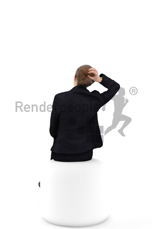3d people business, white 3d woman sitting and fixing her hair