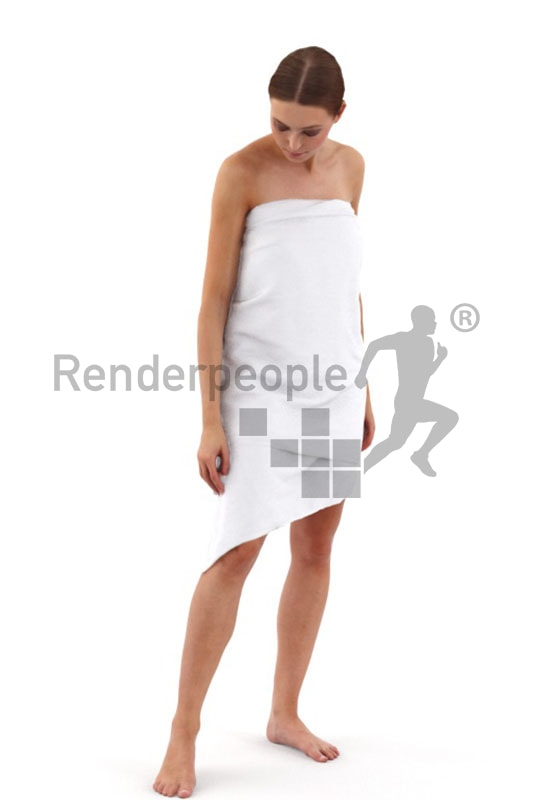3d people spa, white 3d woman covered with a towl looking at the floor