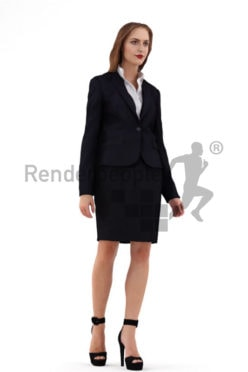 3d people business, white 3d woman with open hair and high heels