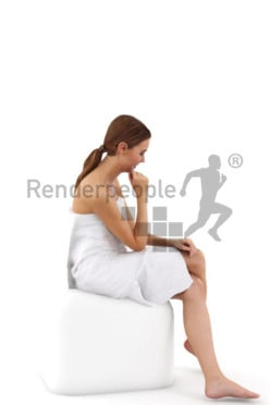 3d people spa, white 3d woman cover with a towl sitting