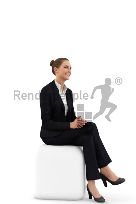 3d people business, white 3d woman sitting and looking nice and friendly