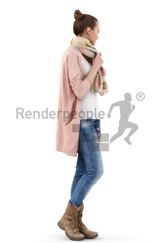 3d people casual, white 3d woman standing and observing