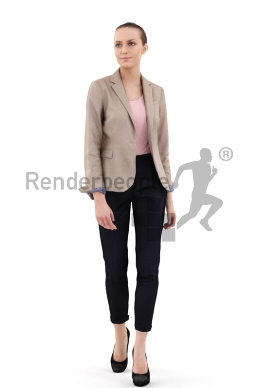 3d people casual, nicely dressed white 3d woman walking