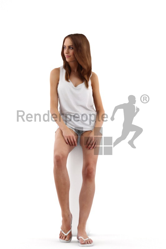 3d people summer, white 3d woman wearing flip flops sitting and relaxing