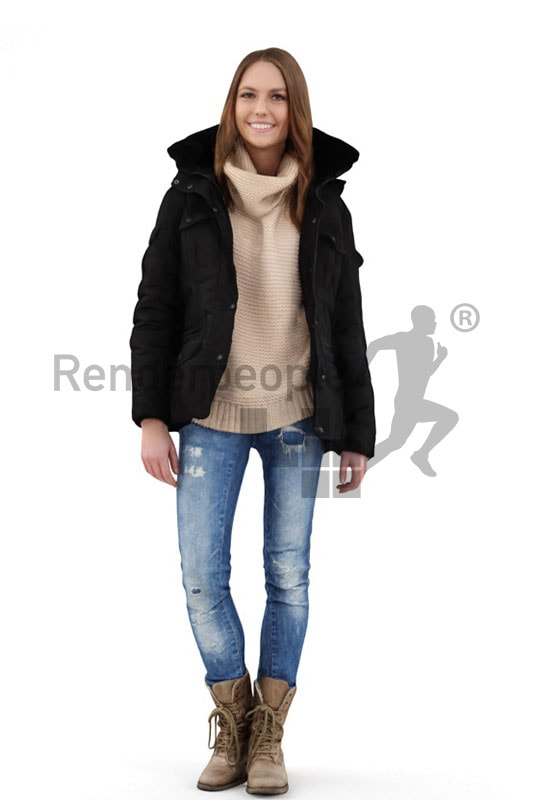 3d people outdoor, white 3d woman wearing a winter jacket