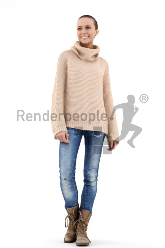 3d people casual, white 3d woman with a broad friendly smile