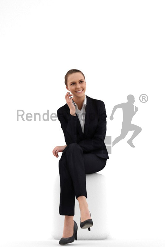 3d people business, white 3d woman sitting and talking on the phone