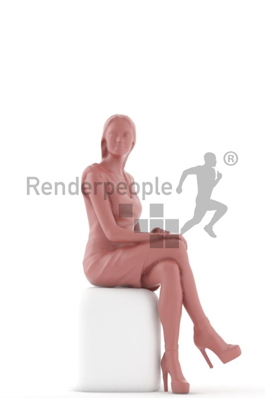 3d people event evening, white gorgeous 3d woman sitting in red dress