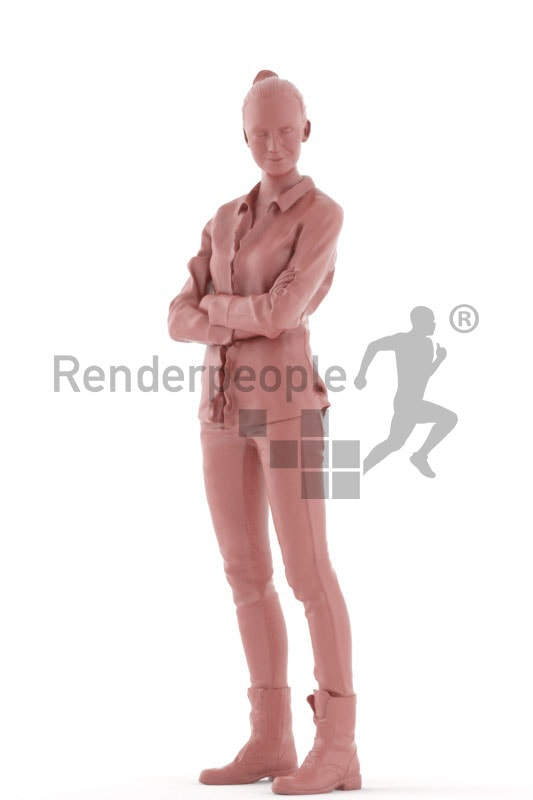 3d people casual, beautiful white 3d woman standing and smiling