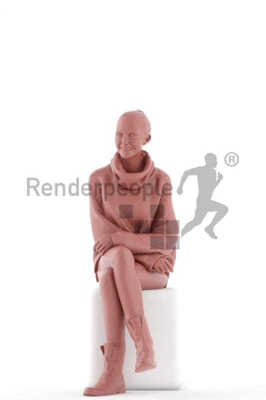 3d people casual, beautiful white 3d woman sitting and smiling
