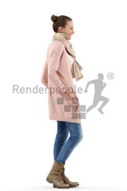 3d people casual, white 3d woman standing and smiling with scarf