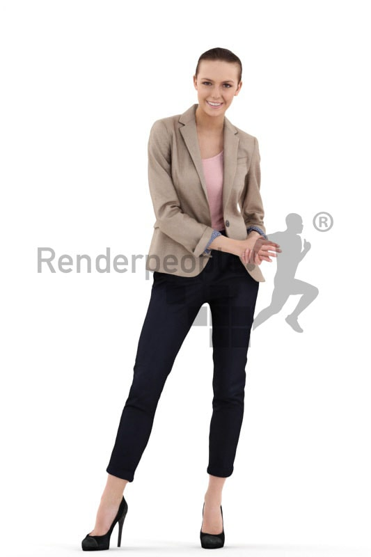 3d people office, white 3d woman standing and holding her hands