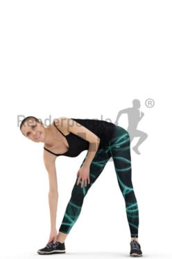 3d people sports, beautiful white 3d woman standing and stretching