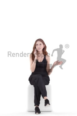 3d people casual, white 3d woman calling somebody