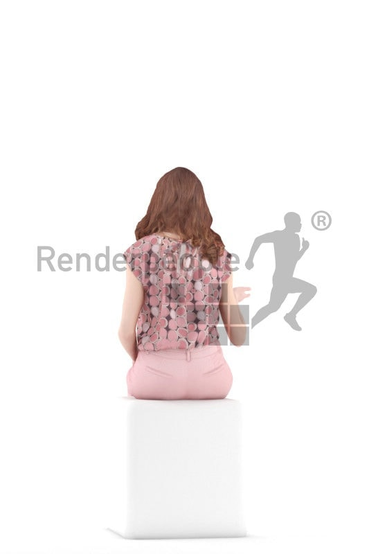 3d people event, white 3d woman sitting and talking
