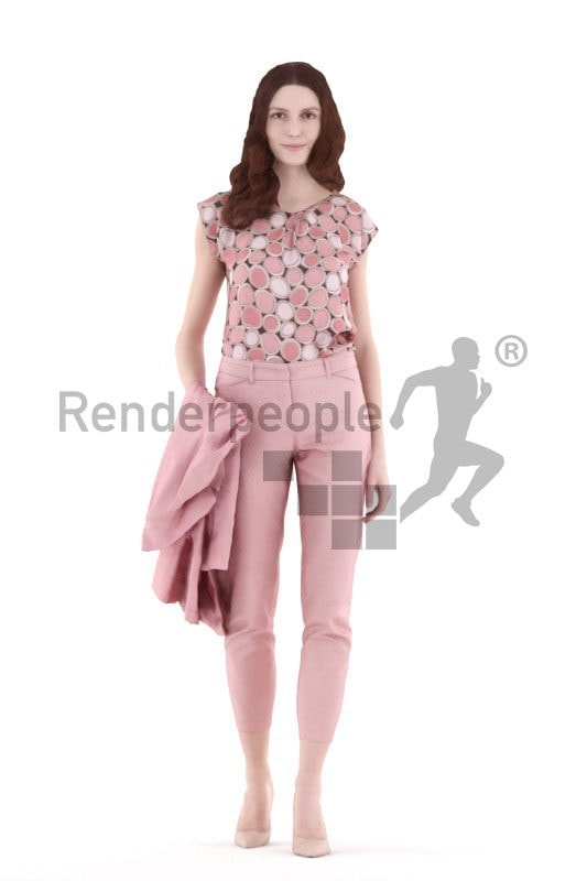 3d people event, white 3d woman walking and holding jacket