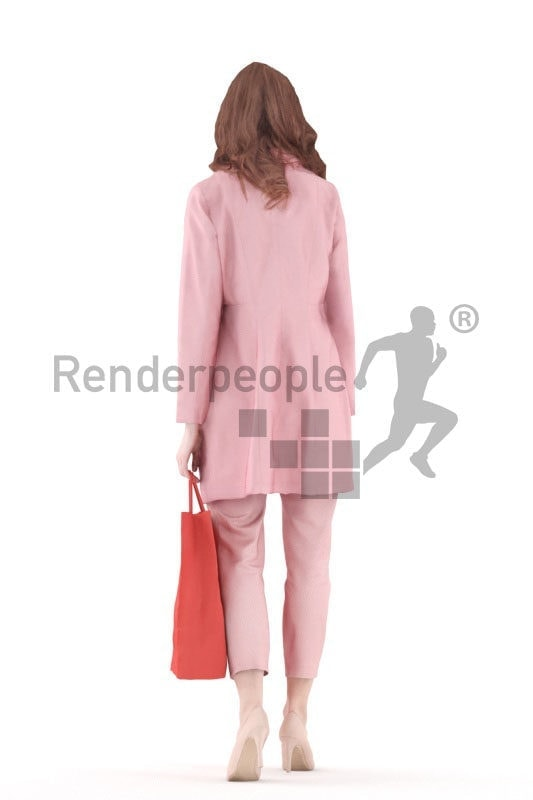 3d people event, white 3d woman walking shopping
