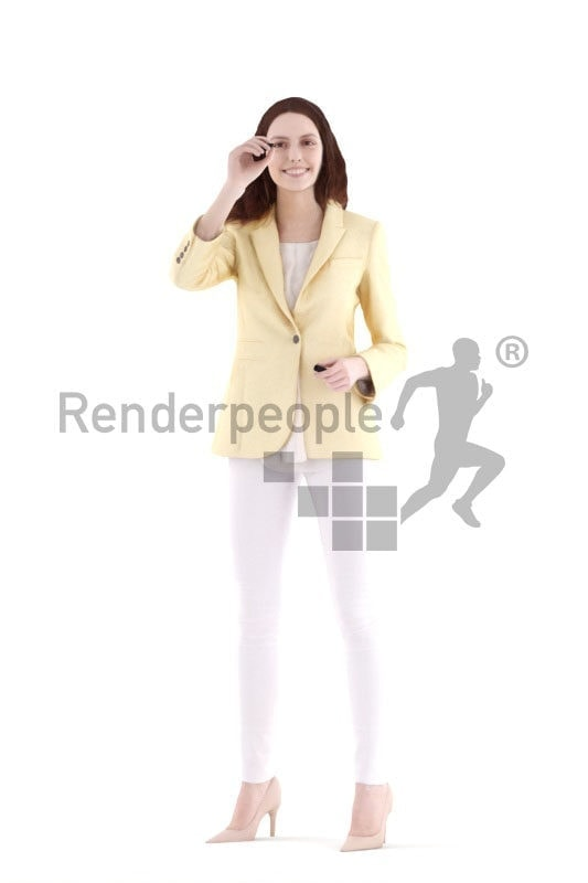 3d people business, white 3d woman sitting and smiling