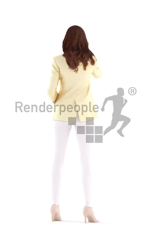 3d people business, white 3d woman standing and writing on whiteboard