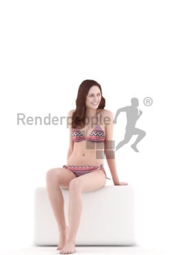 3d people swimwear, white 3d woman sitting and smiling