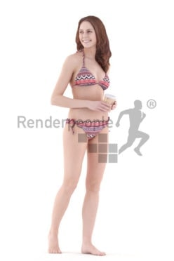 3d people swimwear, white 3d woman standing and smiling