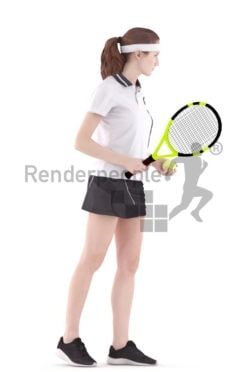 3d people sports, white tennis player 3d woman playing