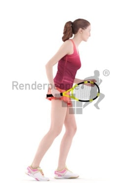 3d people sports, white 3d woman playing tennis