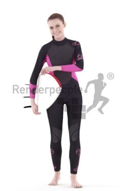 3d people swimwear, white 3d woman carrying s