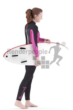 3d people swimwear, white 3d woman carrying surfboard