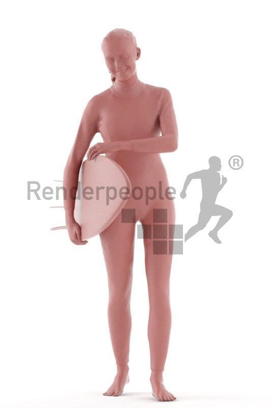 3d people swimwear, white 3d woman carrying surfboard