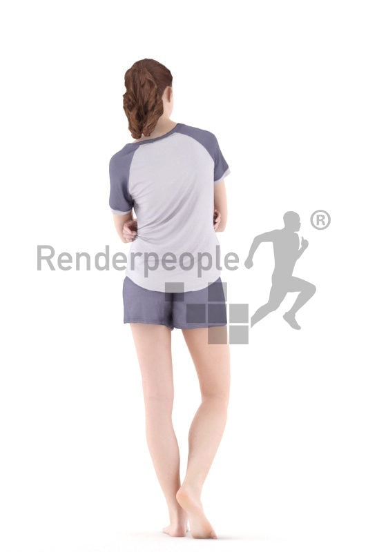 3d people sleepwear, white 3d woman standing and smiling