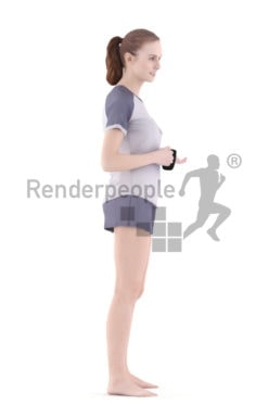 3d people sleepwear, white 3d woman standing and holding cup
