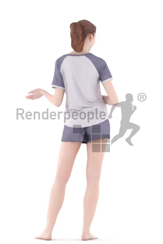 3d people sleepwear, white 3d woman standing and holding a cup